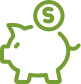 Line drawing piggy bank icon